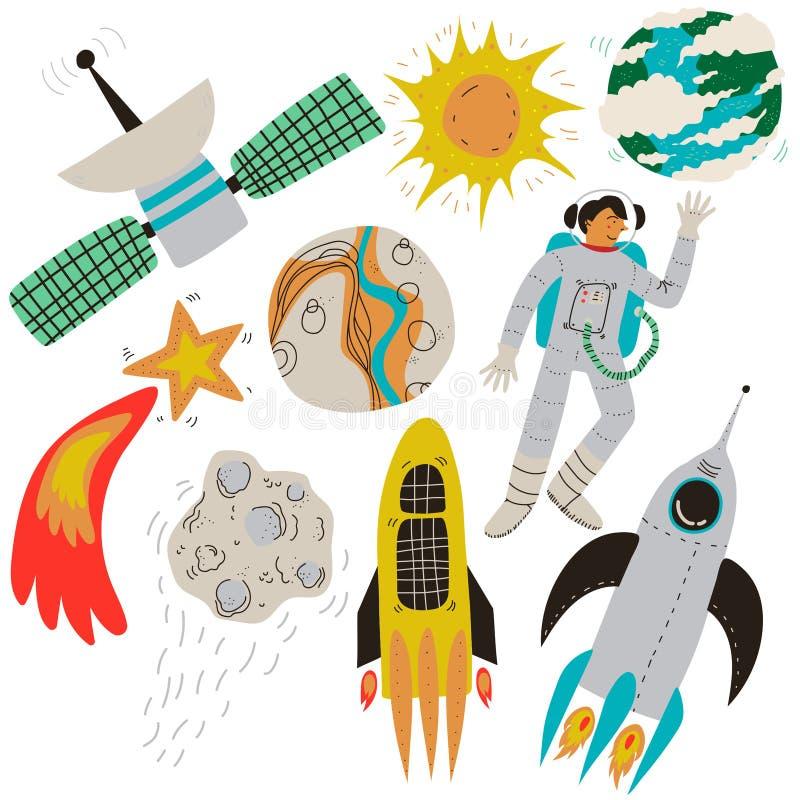 Набор космоса, полнолуние, метеорит пылать, спутник земли, астронавт, Ракета, планета земли, Солнце, дизайн темы космоса иллюстрация штока