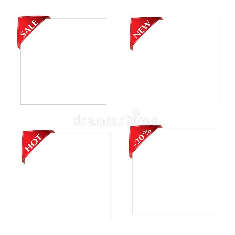 Набор красного ярлыка нового, продажи угла, горячей, листа белой бумаги -20%on иллюстрация вектора