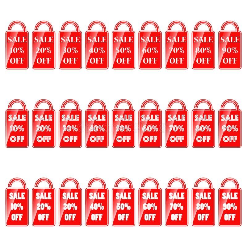 Набор красных белых ярлыков с продажей слова и индикация интереса иллюстрация штока