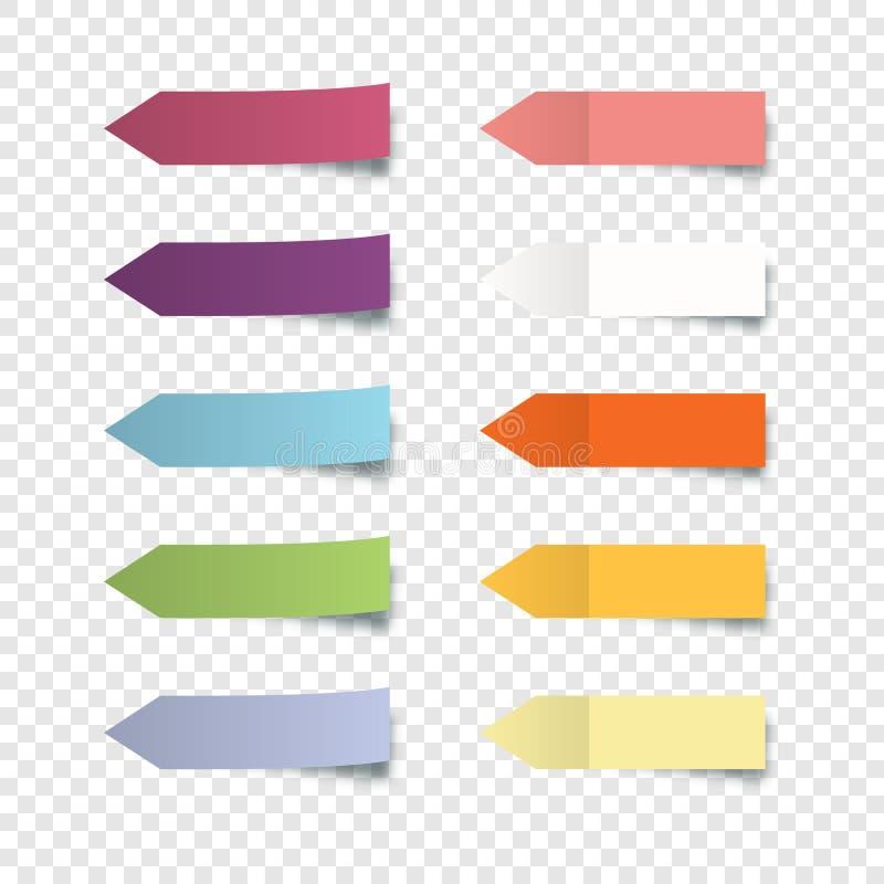Набор красочных наклеек Наклейка со стрелками в виде красок с наклейкой на край с реалистичным стилем для наклеивания наклеек бесплатная иллюстрация