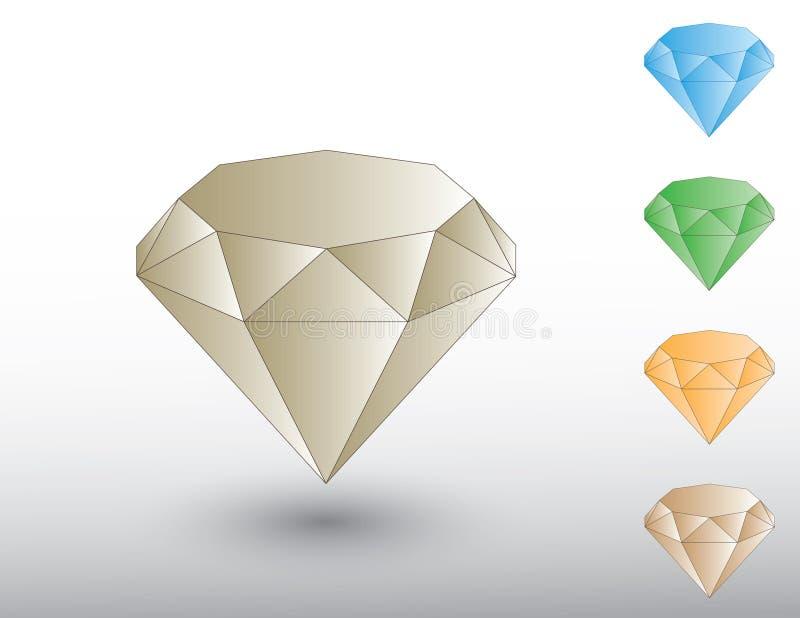 Набор красочных сияющих ценных камней диаманта для украшений на белом векторе предпосылки бесплатная иллюстрация