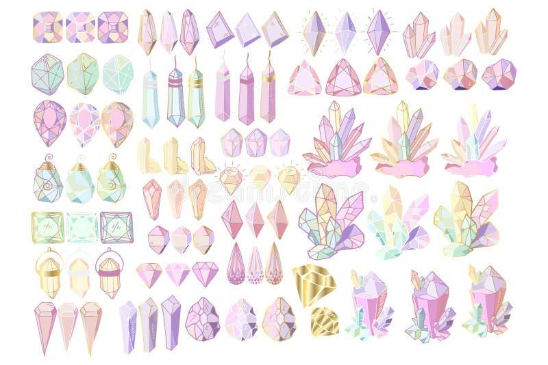 Набор кристаллов вектора иллюстрация штока