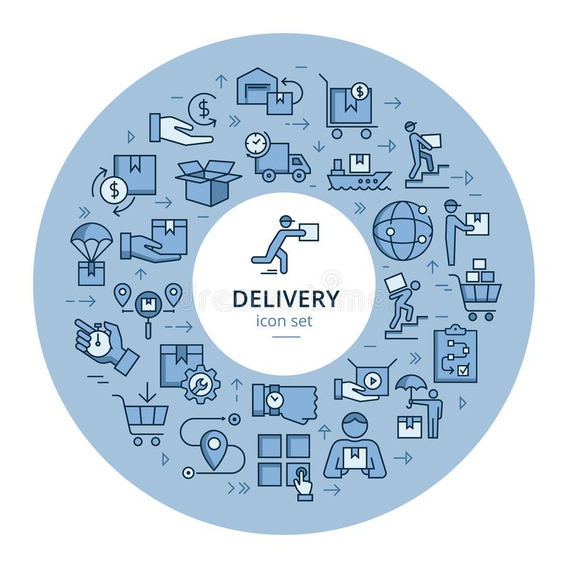 Набор круговой красочной доставки шаблона логистический в плоском стиле Значки вектора для сети, infographic или печати иллюстрация вектора