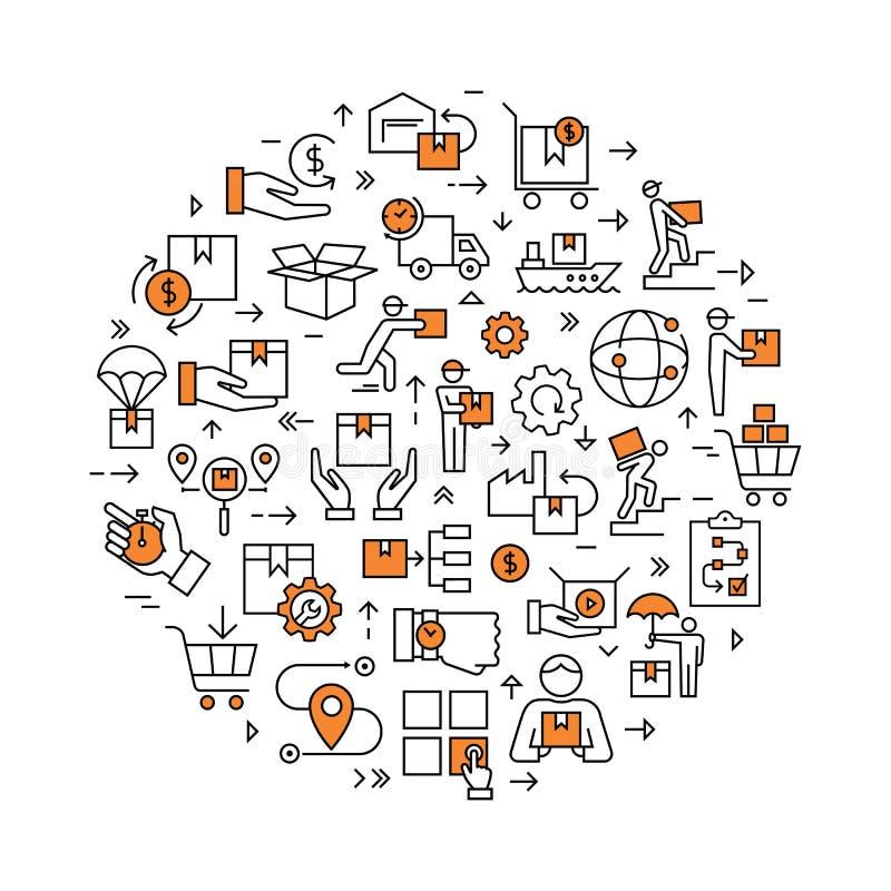 Набор круговой красочной доставки шаблона логистический в плоском стиле Значки вектора для сети, infographic или печати иллюстрация штока