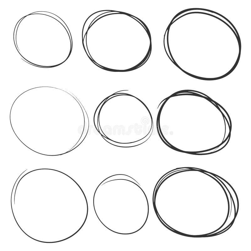Набор кругов руки вычерченный, различные пузыри framesm иллюстрация вектора