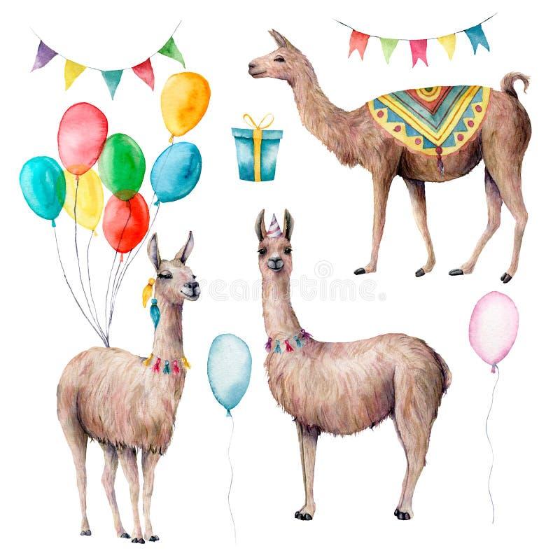 Набор ламы партии акварели Иллюстрация руки вычерченная с воздушными шарами, подарочной коробкой и гирляндами флагов изолированны иллюстрация штока