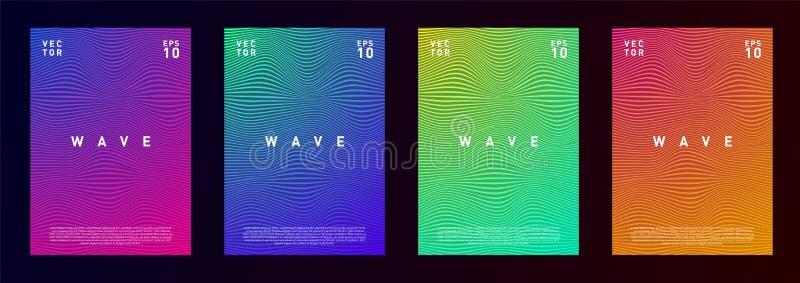 Набор линий дизайна волны предпосылки жидкости текстуры градиента для рекламы, журнала, летчика, плаката, брошюры, покрывает внут иллюстрация вектора