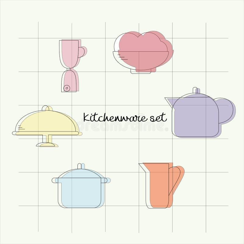 Набор лини-искусства kitchenware вектора minimalistic иллюстрация вектора