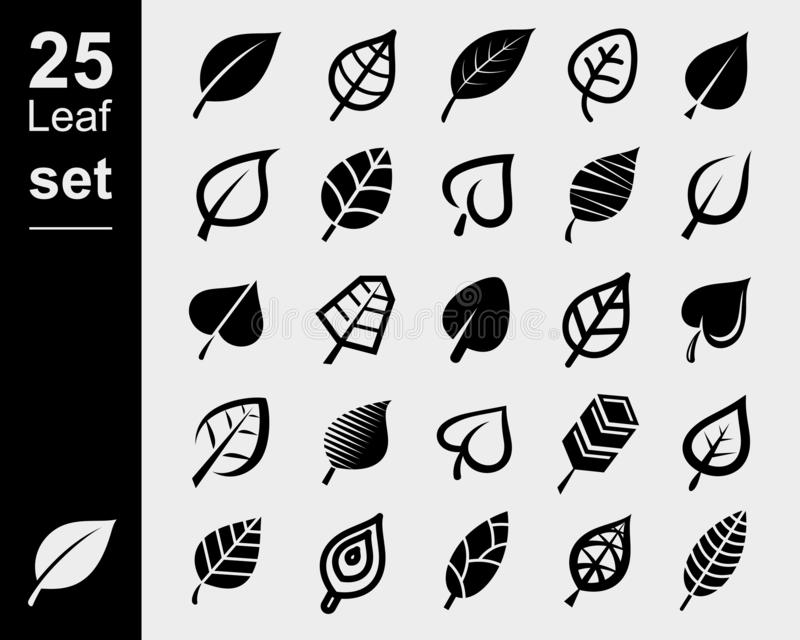 Набор листьев Листья значков коллекции Вектор бесплатная иллюстрация