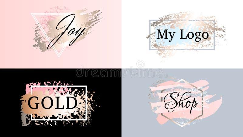 Набор логотипа значков рамок моды красоты Косметики золотая краска, brushstroke чернил, щетка, линия или текстура бесплатная иллюстрация