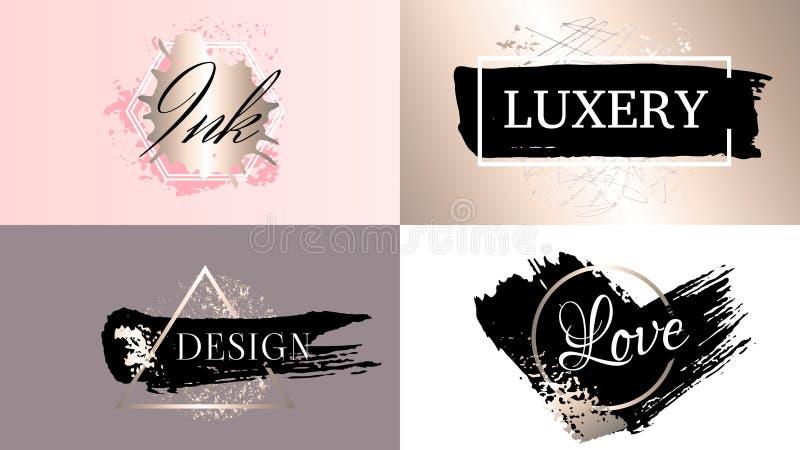 Набор логотипа значков рамок моды красоты Косметики золотая краска, brushstroke чернил, щетка, линия или текстура иллюстрация штока