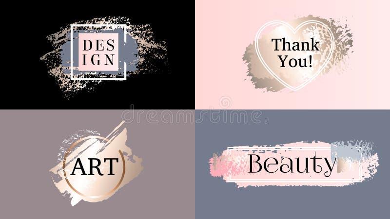 Набор логотипа значков рамок моды красоты Косметики золотая краска, brushstroke чернил, щетка, линия или текстура иллюстрация вектора