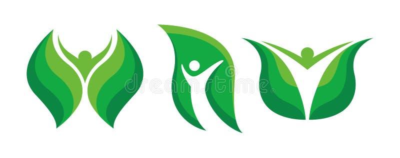 Набор логотипов Eco Green Leaf иллюстрация штока