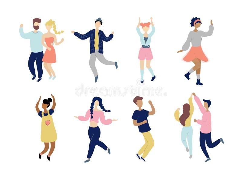 Набор людей молодых танцев крошечный стильный бесплатная иллюстрация