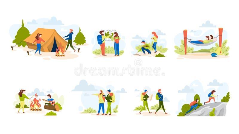 Набор людей пеший Делать шатер и сидеть на лагерном костере иллюстрация вектора