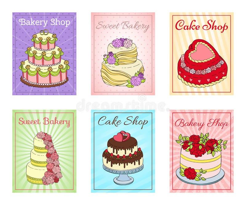 Набор магазина торта иллюстрации вектора карт Шоколад и fruity десерты для сладкого магазина со свежими и вкусными пирожными иллюстрация штока