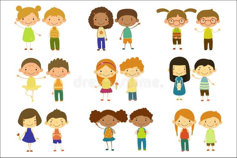 Набор мальчиков и девушек, милые счастливые иллюстрации вектора маленьких ребят на белой предпосылке иллюстрация вектора