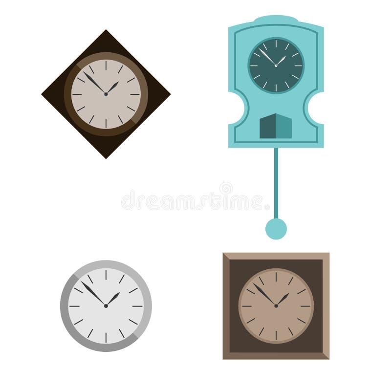 Набор мебели для комнаты часы в различных стилях r бесплатная иллюстрация
