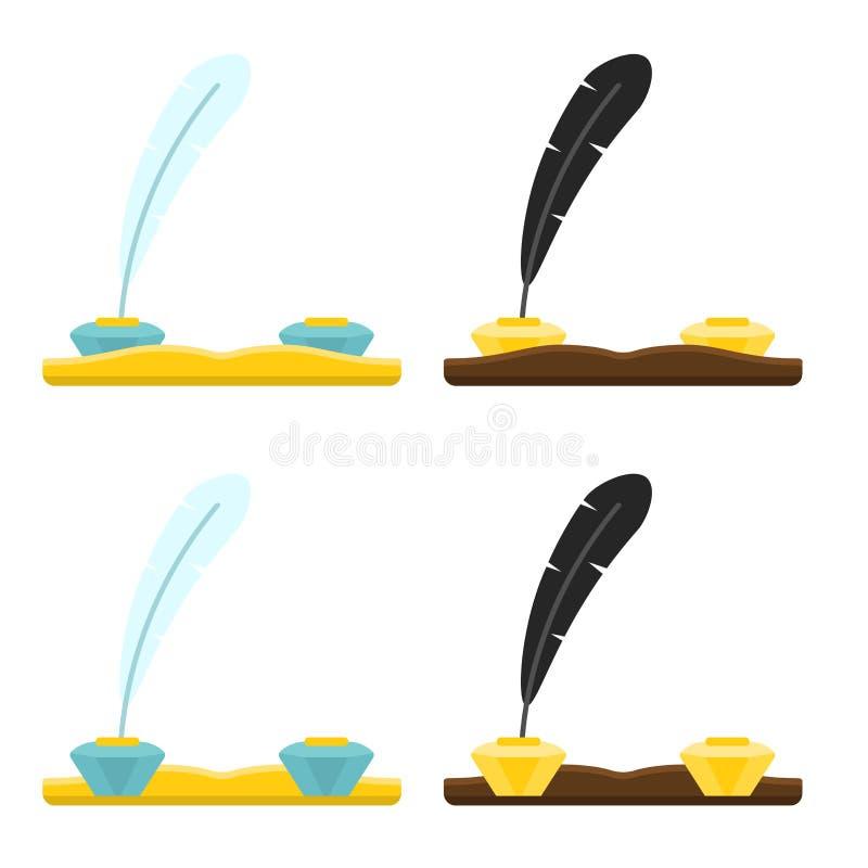 Набор мебели для чернильницы рабочего места спереди и сзади в иллюстрации различного вектора стилей плоской иллюстрация вектора