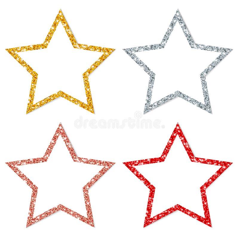 Набор меди серебра золота 4 кадр звезд сверкная красной иллюстрация штока