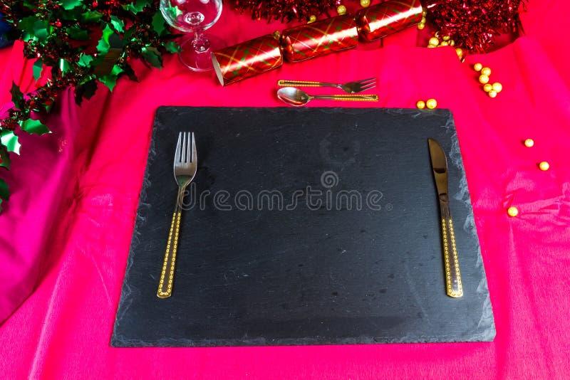 Набор места таблицы для рождества стоковые фотографии rf
