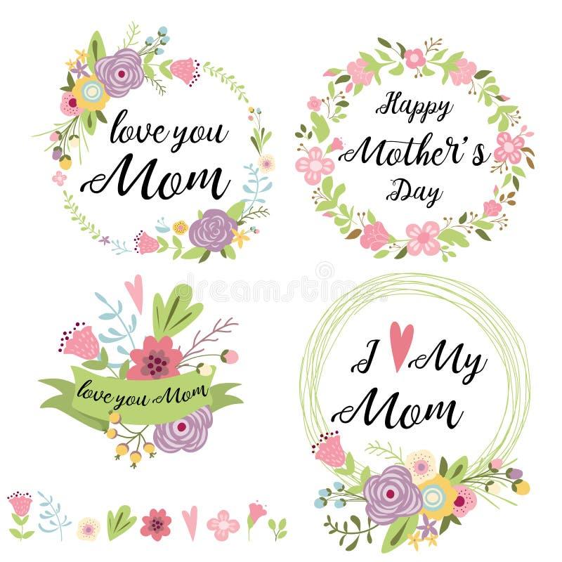 Набор милых приветствуя элементов дизайна для литерности ленты знамен сердец цветков венка Дня матери флористической r иллюстрация вектора