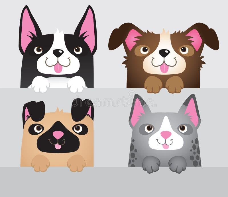 Набор 4 милых собак различных видов иллюстрация вектора