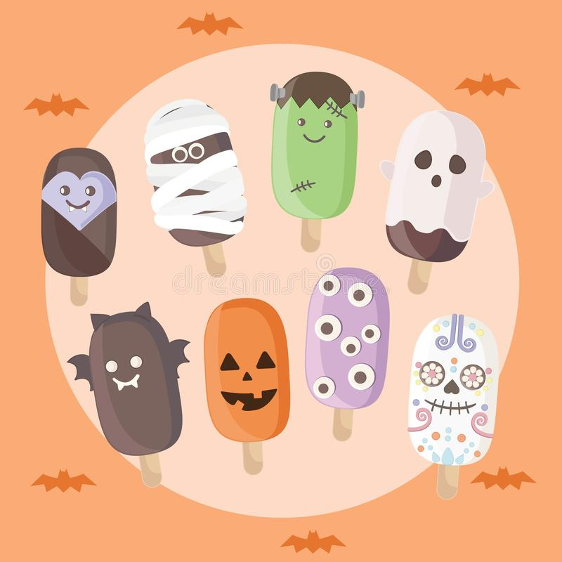 Набор мороженого хеллоуина иллюстрация штока