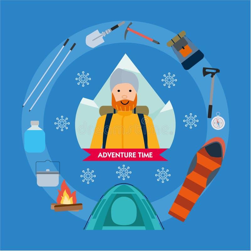Набор мультфильма альпинизма с альпинистами зацепляет оборудование Активная концепция спорта Иллюстрация шаржа вектора плоская бесплатная иллюстрация