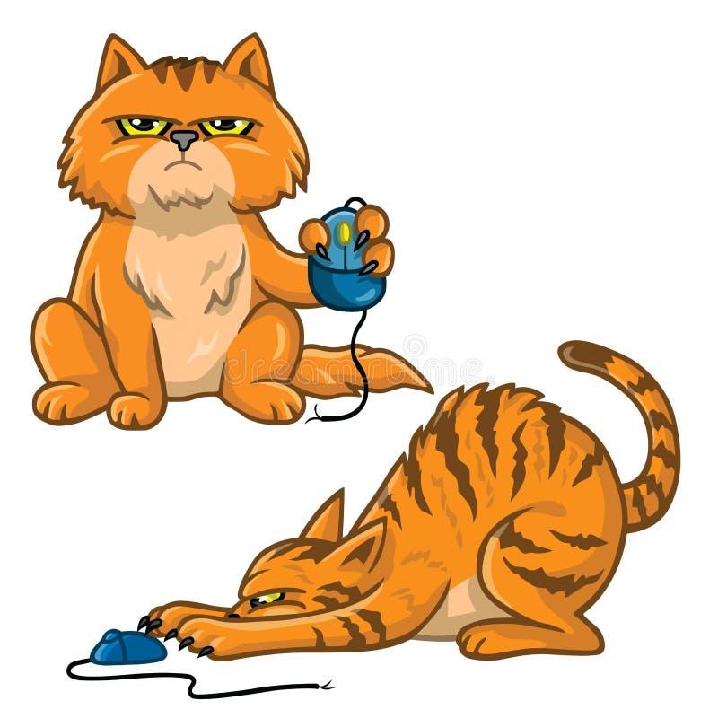 Набор мультфильма кота играя с иллюстрацией вектора мыши компьютера бесплатная иллюстрация