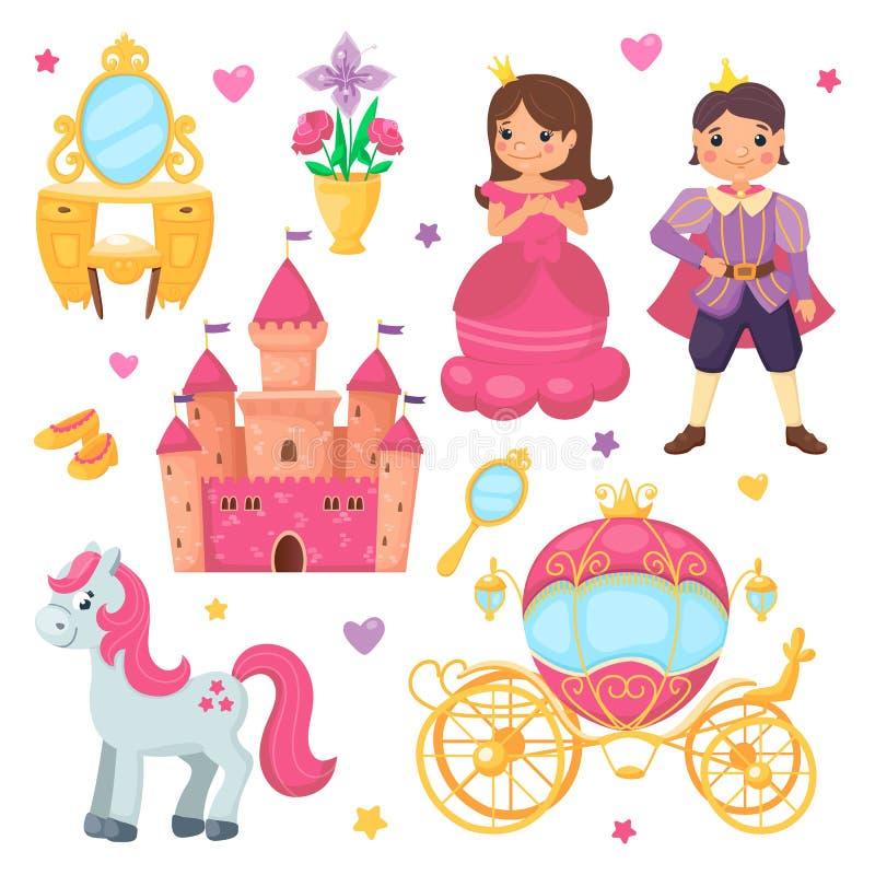Набор мультфильма мальчика девушки и принца принцессы Королевское собрание с красивым экипажом, милым замком, прелестным пони с п иллюстрация вектора