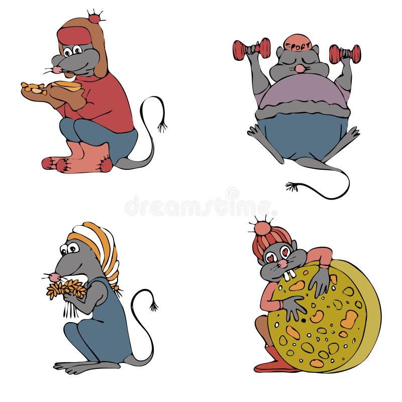 Набор мыши красочный Эскиз чертежа руки Черный план на белой предпосылке r бесплатная иллюстрация