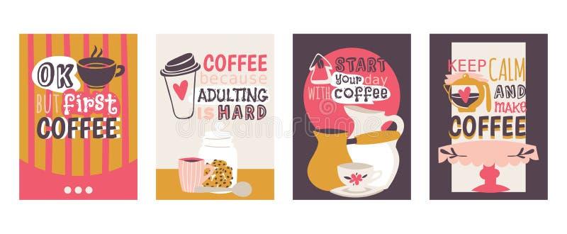 Набор наркомании кофе иллюстрации вектора карт О'КЕЙ, но первый кофе Кофе потому что adulting трудн Начните ваш день иллюстрация вектора