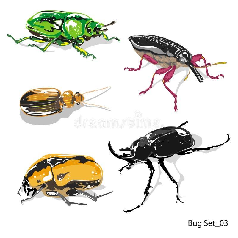 Набор 03 насекомого, ошибка дамы, пчела, муха, паук, etc, изолированные на белой предпосылке для книжной иллюстрации - вектора иллюстрация вектора