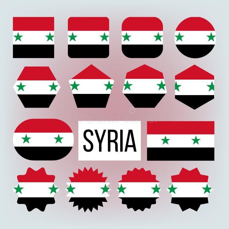 Набор национальных флагов вектора форм Сирии различный иллюстрация штока