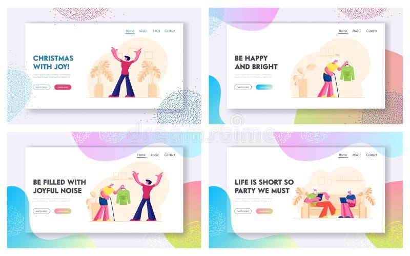Набор начальных страниц для старшей страницы People Lifestyle Website Старая пара с помощью интеллектуальных гаджетов Бабушка пре иллюстрация штока