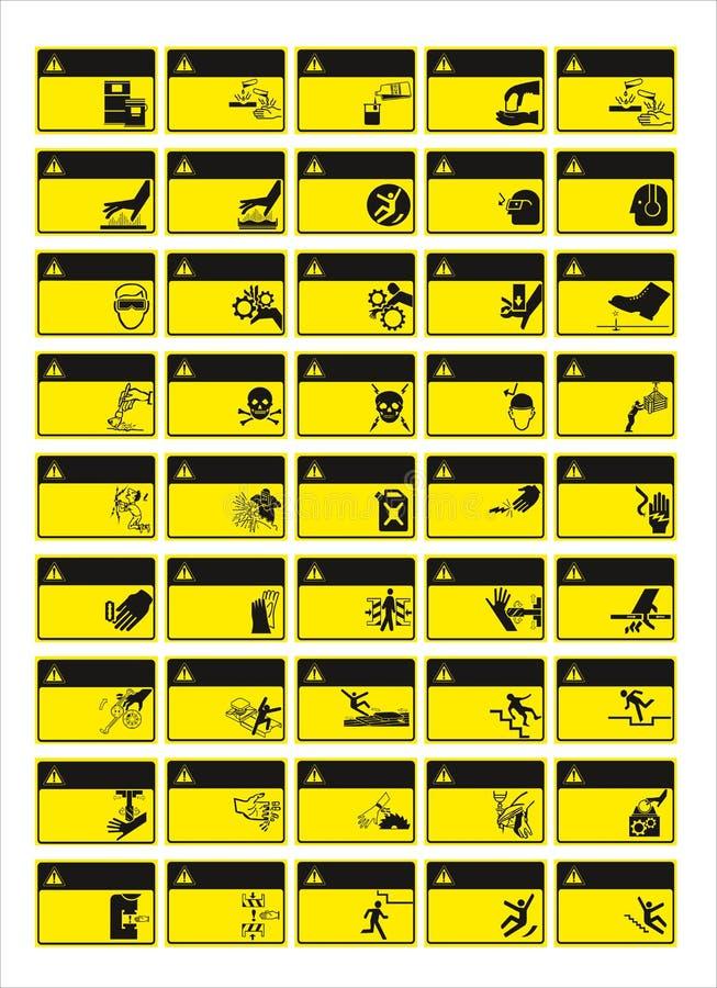 Набор необходимого знака, знака опасности, запрещенных знаков знака, о стоковая фотография rf