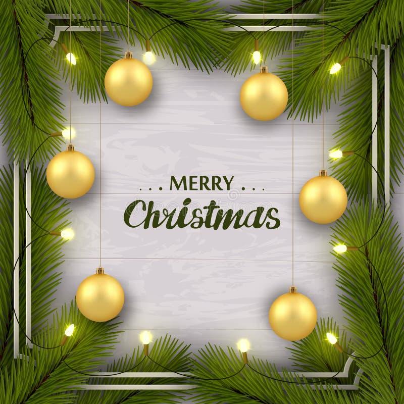 Набор Нового Года поздравительный на белой деревянной стене Ветви дерева, золотые шарики, освещение иллюстрация вектора