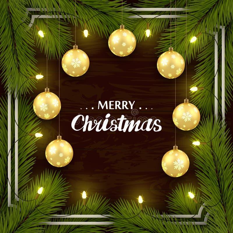 Набор Нового Года поздравительный на коричневой деревянной стене Ветви дерева, золотые шарики, освещение Рамка, с тенями иллюстрация штока