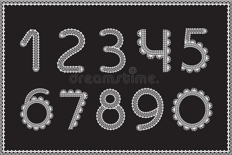 Набор номеров вязания крючком Знаки ремесленничества, белая пряжа на черноте иллюстрация вектора