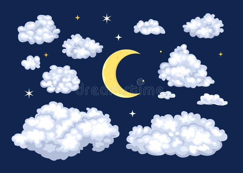 Набор ночного неба Облака различных форм и луны бесплатная иллюстрация