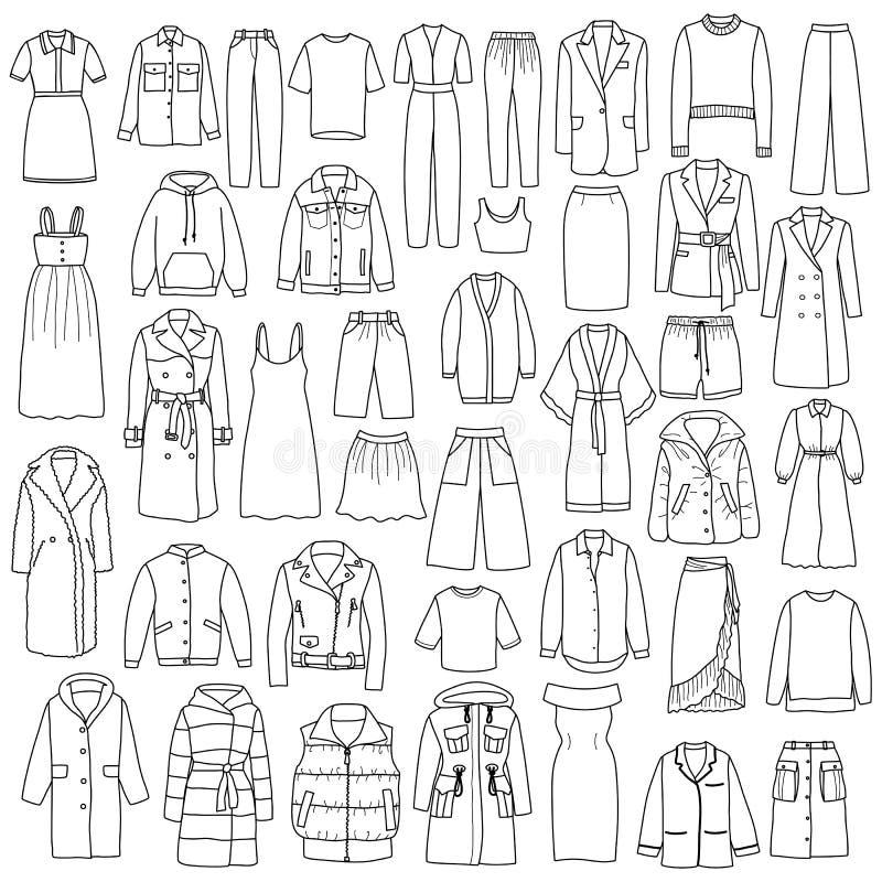 Набор одежды вычерченных женщин руки вектора Doodle бесплатная иллюстрация