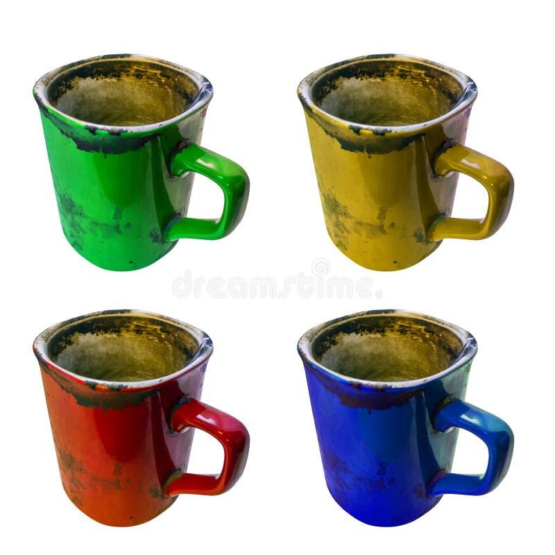Набор опостылеть супер грязной кружке coffe изолированной на белой предпосылке с выборочным фокусом стоковые изображения