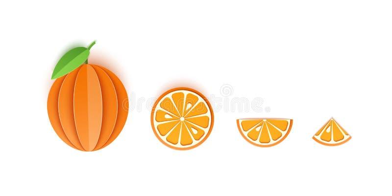 Набор оранжевых отрезанных бумажных цитрусовых фруктов отрезал все, триангулярные и круглые куски, дизайн для любой цели Цитрус л иллюстрация вектора