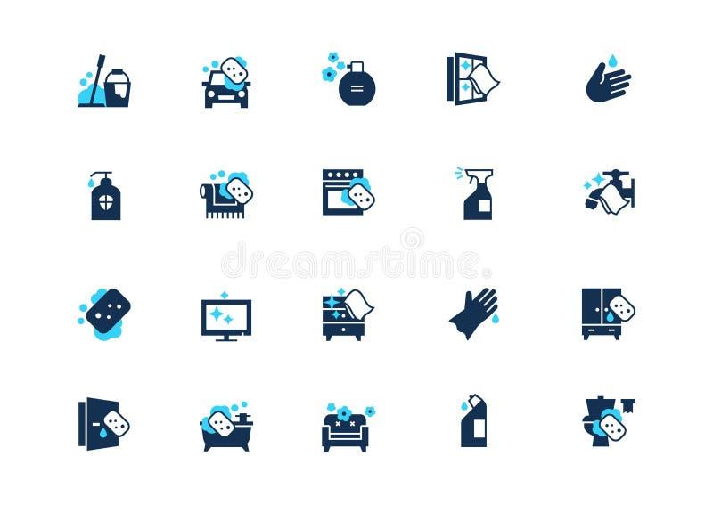 Набор очищая значков с голубым акцентом, изолированный на светлой предпосылке иллюстрация штока
