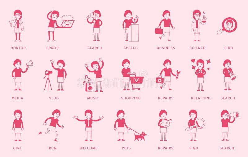 Набор пачки женщины Поиск и диалоги Работница Большой установленный характер Розовый силуэт цвета Собрание различное иллюстрация штока