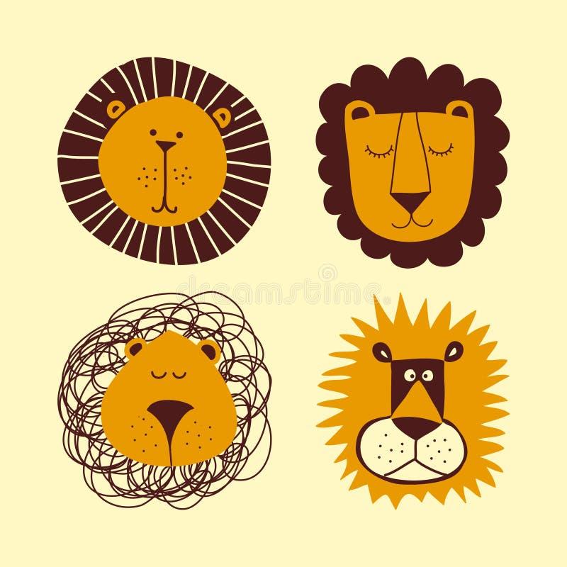 Набор пачки льва - смешной чертеж характера вектора иллюстрация штока