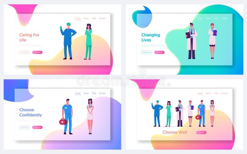 Набор первых страниц веб-сайта 'Медик профессионал' Медицина: работа, больница или клинический врач-терапевт, хирург-хирург бесплатная иллюстрация