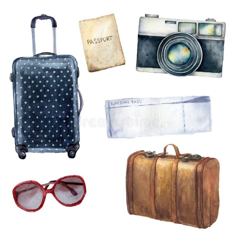 Набор перемещения акварели Рука покрасила туристские объекты установила включая паспорт, билет, кожаный винтажный чемодан, точку  иллюстрация вектора