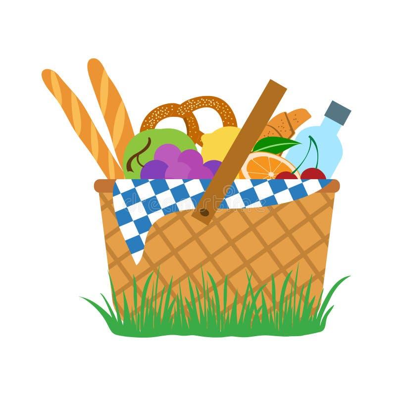 Набор пикника: еда и вода в корзине, вектор иллюстрация вектора